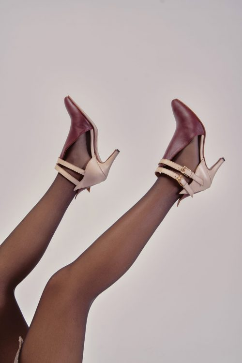 CLEO STRAP ANKLE BOOTS BURGUNDY X NUDE