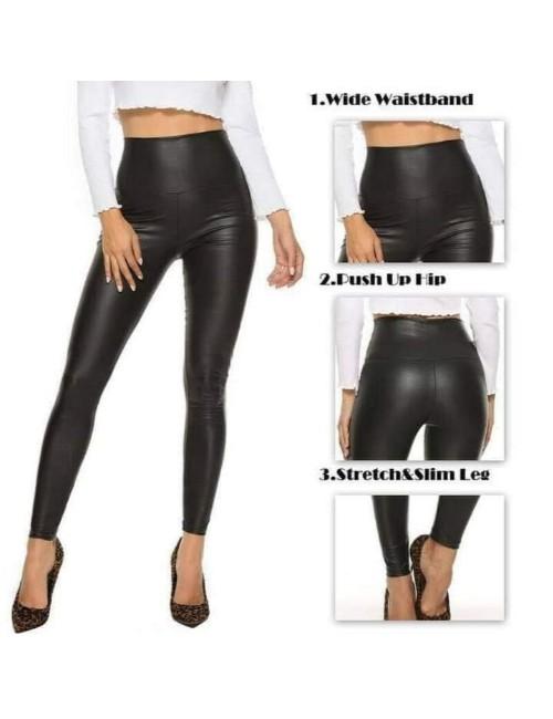 Plain leather pants -BLACK