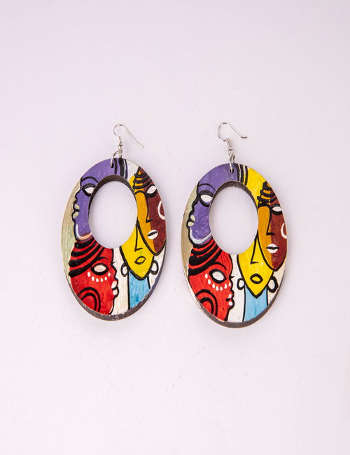 Wood earring By Fatma Soliman Adam